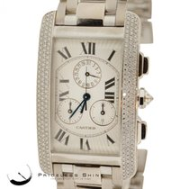 Cartier Tank Americaine Chronograph Solid 18k White Gold Watch...
