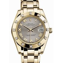 Rolex Pearlmaster 34 81318 Steel Roman Yellow Gold Bezel Set...