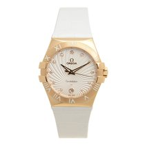 Omega Constellation 18k Rose Gold Silver Quartz 123.53.35.60.5...