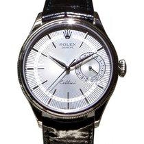 Rolex Cellini Date 50519-SLV Silver Guilloche Index White Gold...