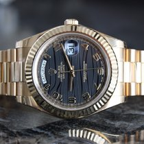 Rolex Yellow Gold Day-Date 2 Black Wave Dial
