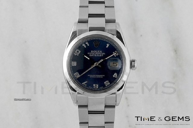 Rolex Stainless Steel Blue Arabic Dial Smooth Bezel Oyster Band Datejust