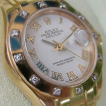 Rolex Ladies 18k Yellow Gold White Roman Pearlmaster Masterpie...