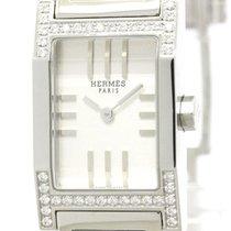Hermès Polished Hermes Tandem Diamond Steel Quartz Ladies...