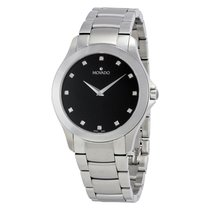Movado Masino Black Dial Stainless Steel Mens Watch 0607036