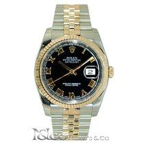 Rolex DateJust 18K Everose Steel Jubilee Black Roman Dial