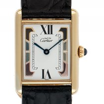 Cartier Tank Vermeil Gelbgold Quarz Armband Leder 30x23mm...