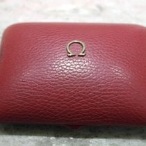 Omega vintage watch box leather red logo metal