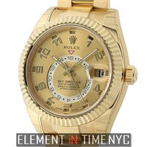 Rolex Sky-Dweller 18k Yellow Gold On Bracelet Champagne Dial...