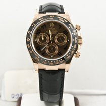 Rolex 40mm Rose Gold Daytona 116515LN Leather Band Choclate
