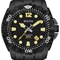 Bulova Sea King Black PVD Steel Mens Watch Calendar 98B242