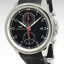 IWC Portuguese Yacht Club Chronograph Steel Black Dial Watch...