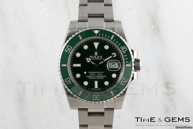 Rolex Stainless Steel Green Dial Green Bezel Submariner 2011