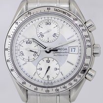 Omega Speedmaster Date Automatic Chronograph white silver Steel