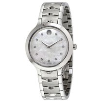 Movado Luno White Mother of Pearl Dial Ladies Watch 0607055