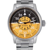 Fortis Flieger Cockpit Automatic Steel Mens Watch Black Yellow...