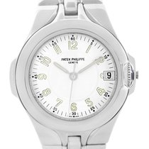 Patek Philippe Sculpture Stainless Steel White Dial Watch...