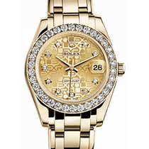 Rolex Pearlmaster 34 81298 Champagne Jubilee Diamond Bezel...