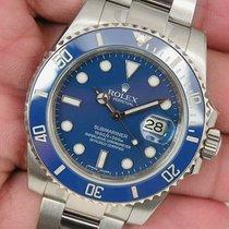 Rolex Submariner 116619 Mens White Gold Blue Ceramic Bezel...