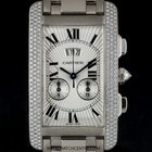 Cartier 18k White Gold Diamond Bezel Tank Americaine Chronofle...