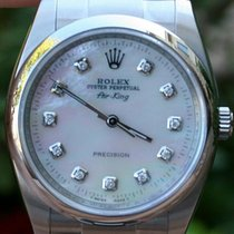 Rolex Mens Steel Air King Diamond Mop Dial Watch Yr2010
