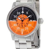 Fortis Flieger Cockpit Automatic Steel Mens Watch Black Orange...