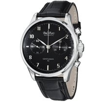 Paul Picot Gentleman Chronograph 42 Black Dial Black Leather...