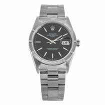 Rolex Date Black Dial Engine Turn Bezel 34mm Watch 15210...