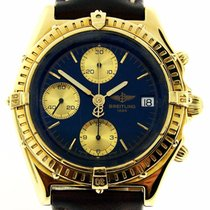 Breitling Chronomat K13047 18k Yellow Gold Blue Dial Brown...