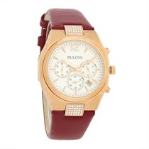 Bulova Crystal Ladies Rose Gold Tone W/Red Strap Quartz Watch...