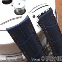 Strapcode Navy CrocoCalf Semi-Curved Lug Watch Strap, Poli...