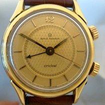 Revue Thommen vintage cricket alarm clock gold plated