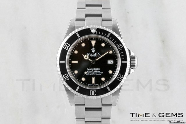 Rolex Stainless Steel Black Dial Black Bezel Sea Dweller