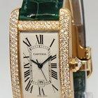 Cartier Tank Americaine 18k Yellow Gold Diamond Green Strap...