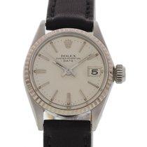 Rolex Ladies Vintage Rolex Date 18K WG Bezel S/S 6517