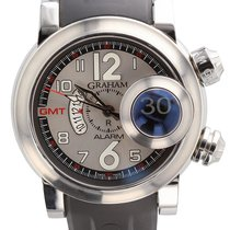 Graham Swordfish Grillo Steel 46mm Mens Alarm GMT Silver...