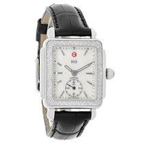 Michele Ladies Deco Diamond MOP Paten Black Strap Quartz Watch...