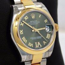 Rolex Datejust 178343 31mm 18k Yellow Gold/ss Green Diamond Dial
