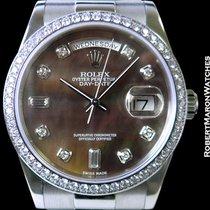 Rolex 118346 Platinum Day Date President Tahitian Mop Diamonds...