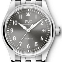 IWC IW324002 Pilots Date mens 36mm Automatic in Steel - On...
