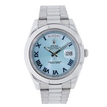 Rolex DAY-DATE II 41mm Platinum Watch Ice Blue Dial