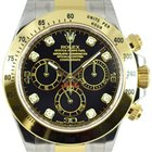 Rolex DAYTONA STEEL GOLD BLACK DIAMOND DIAL 116523 116503
