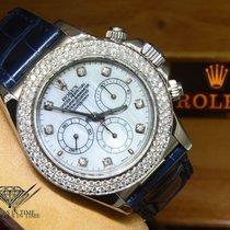 Rolex Daytona 18k White Gold MOP Diamond Blue Strap Watch...
