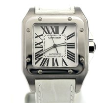 Cartier Santos 100 XL Stainless Steel Case with White Leather...