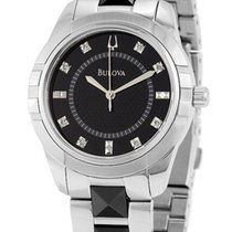 Bulova Stainless Steel & Black Ceramic Womens Watch Black...