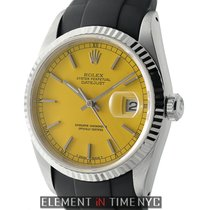Rolex Datejust Steel & White Gold Bezel 36mm Yellow Dial...