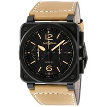 Bell & Ross Heritage Chronograph Black Dial Beige Leather...