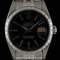 Rolex S/S O/P Black Baton Dial Datejust Vintage Gents 6605
