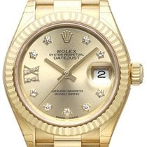 Rolex Lady-Datejust 28 18 kt Gelbgold 279178 Champagner DIA