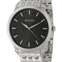Bulova Classic Stainless Steel Mens Watch Black Dial Quartz...